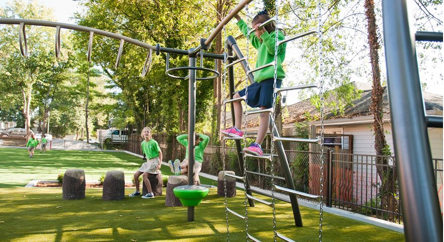 Natural Themed Play System With Timbers Roofs Gametime