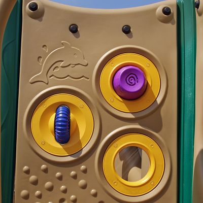 Add a playground for toddlers with gizmo panels to help young children learn skills.