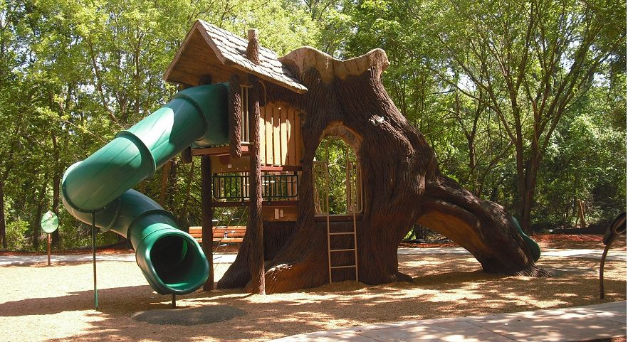 Nature Themed Playground With Tube Slide Gametime