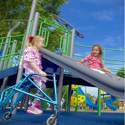 You can include inclusive outdoor playground equipment with PowerScape's numerous deck and ramp options.