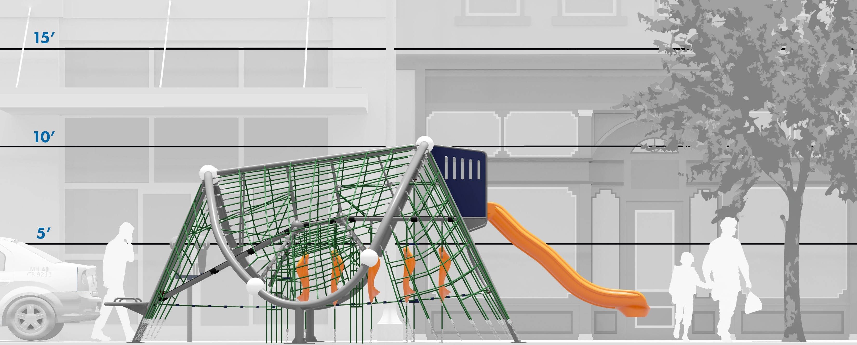 Scale rendering of GT Wave playground net climber