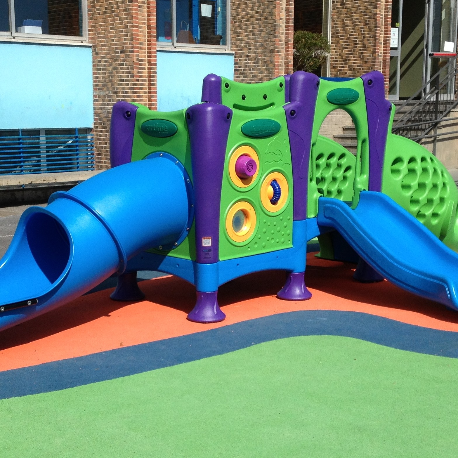 A playground for toddlers built by KidTime can be installed indoors and outdoors.