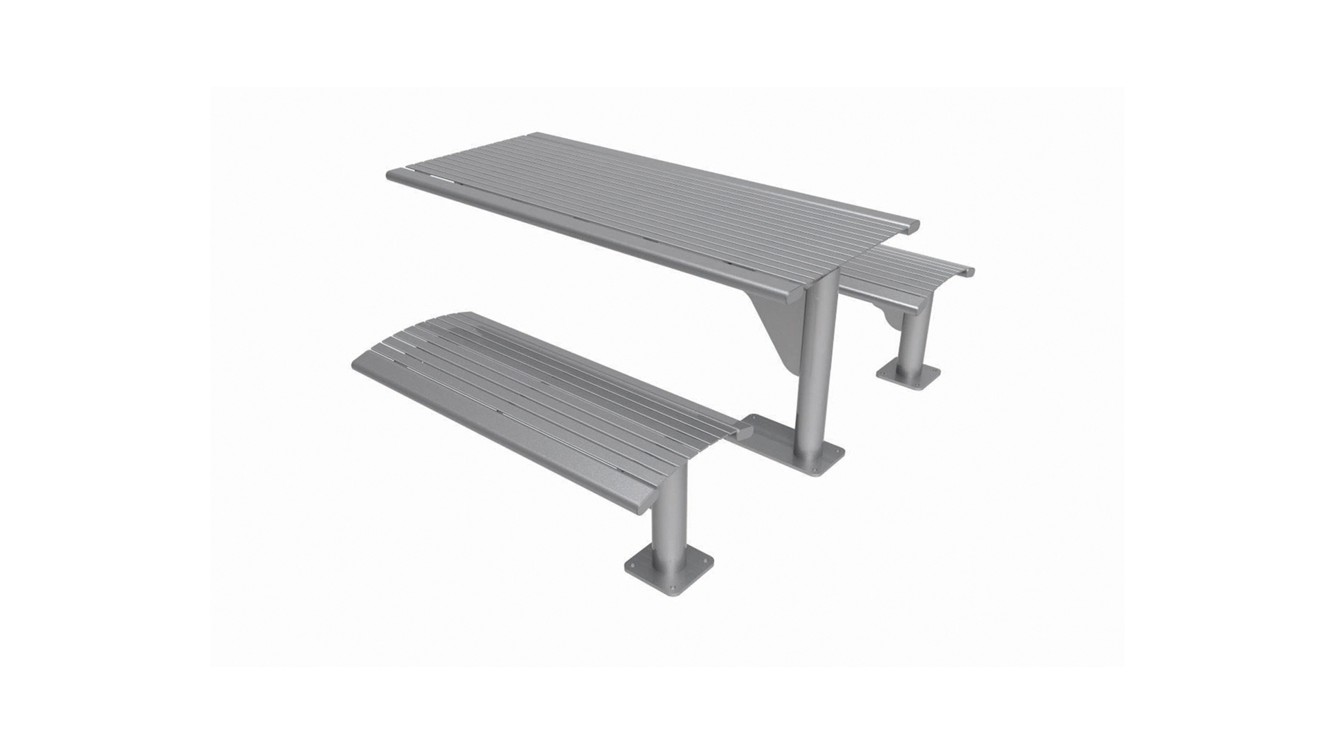 Series 1600 Table with Seats, Steel Slats