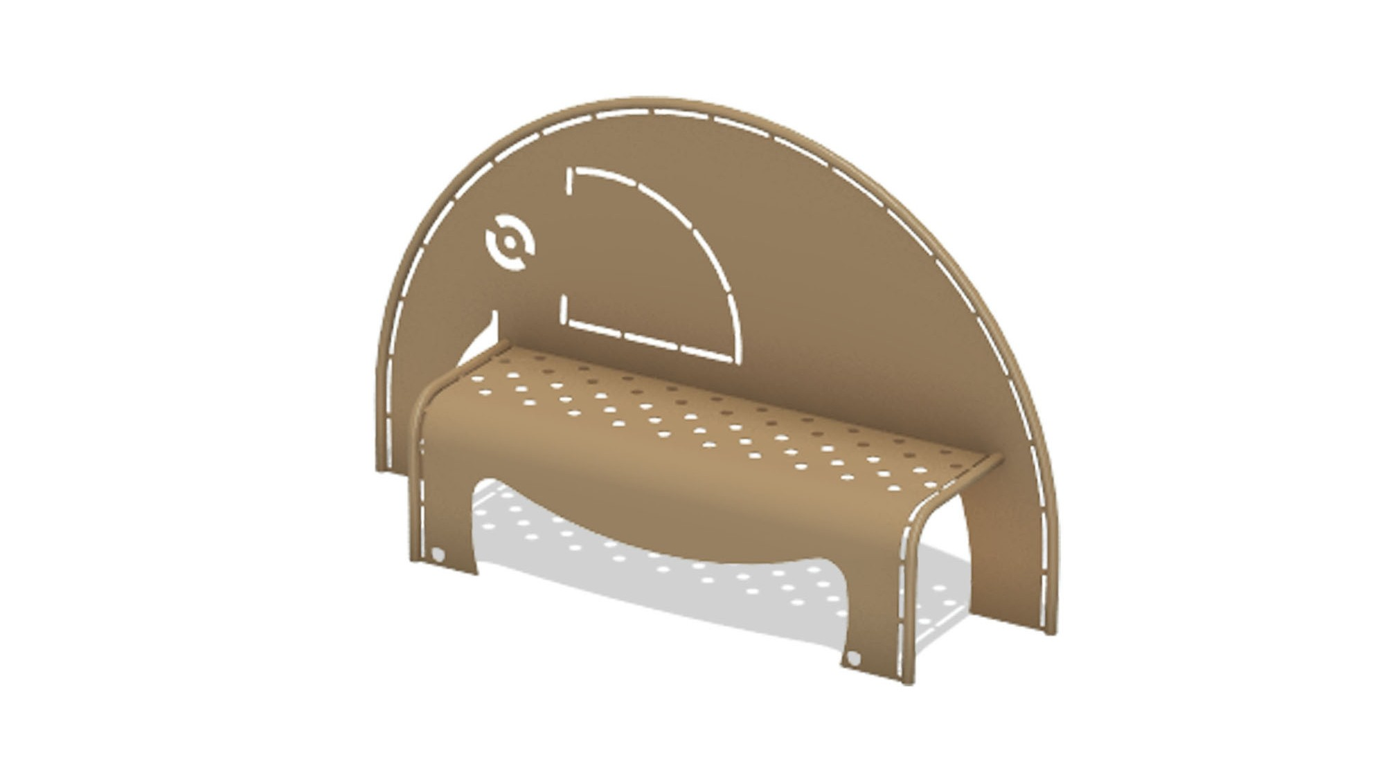 4' Elephant Bench w/Perforated Seat - In-Ground