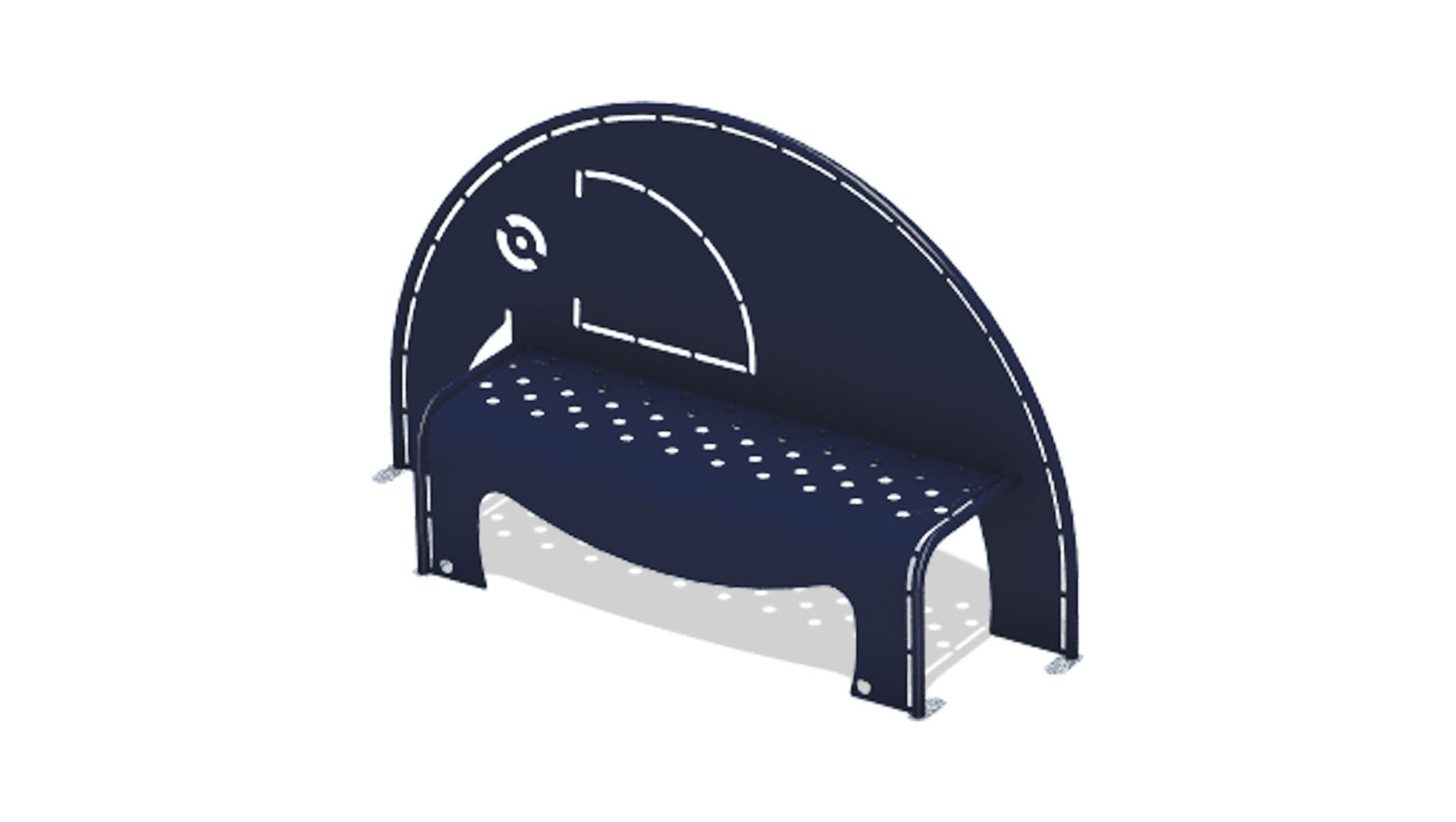 4' Elephant Bench w/Perforated Seat - Surface Mount