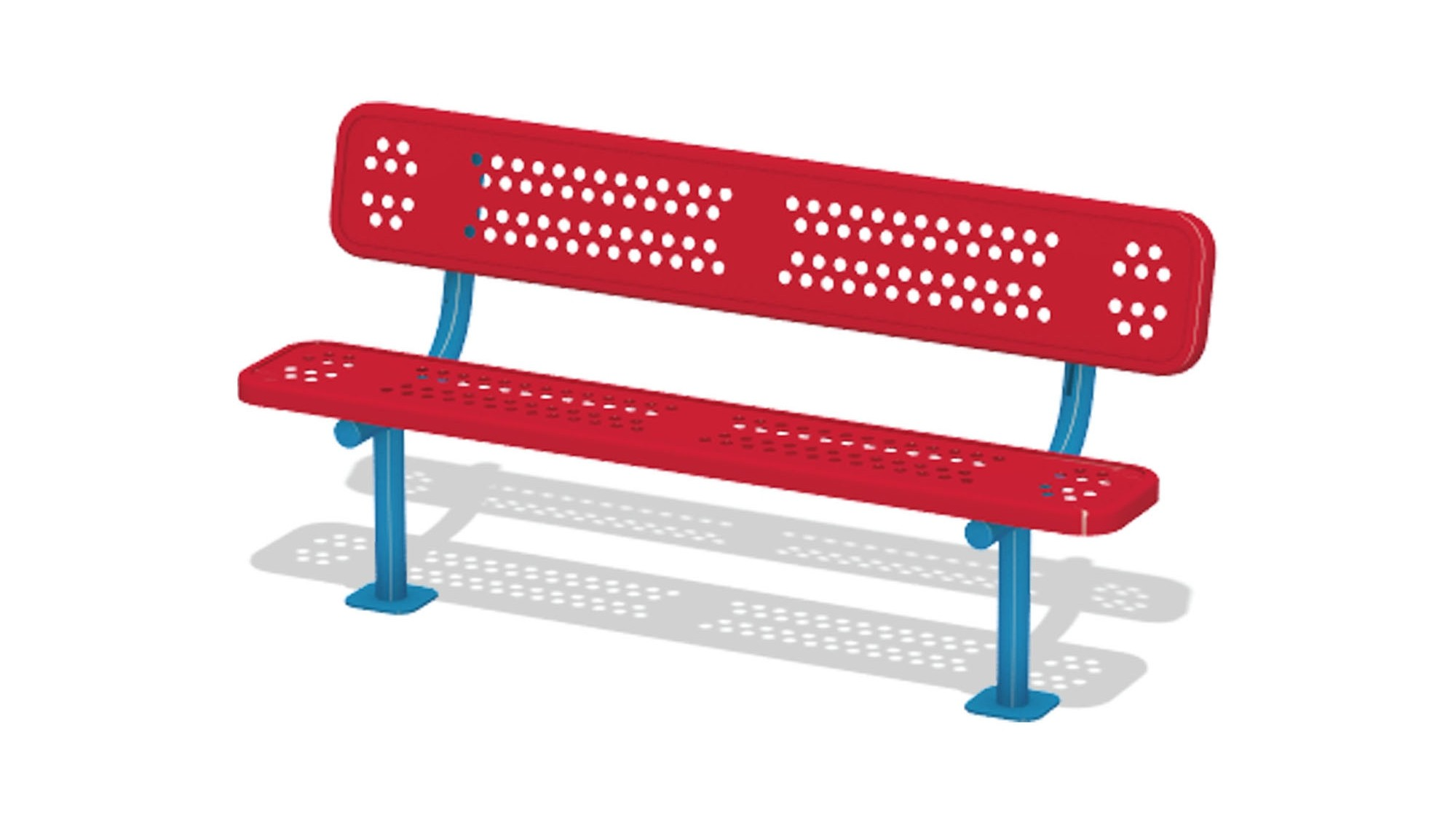6' Duraclad Bench w/Back - Surface Mount