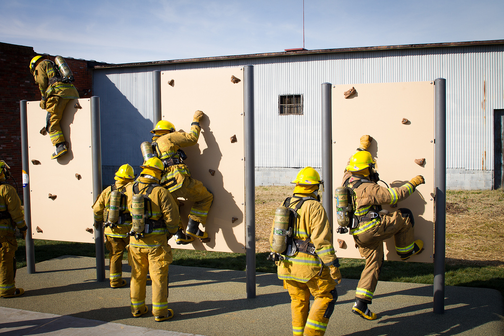 Firefighters and law enforcement agencies use iTrack climbing walls as part of their training regimen.