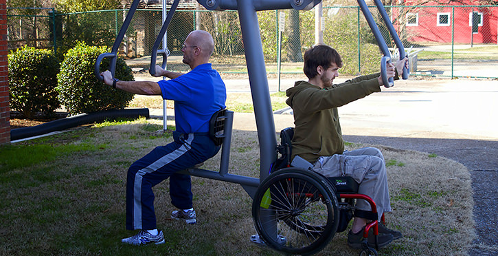Outdoor gym equipment brings fitness activity to underserved communities.