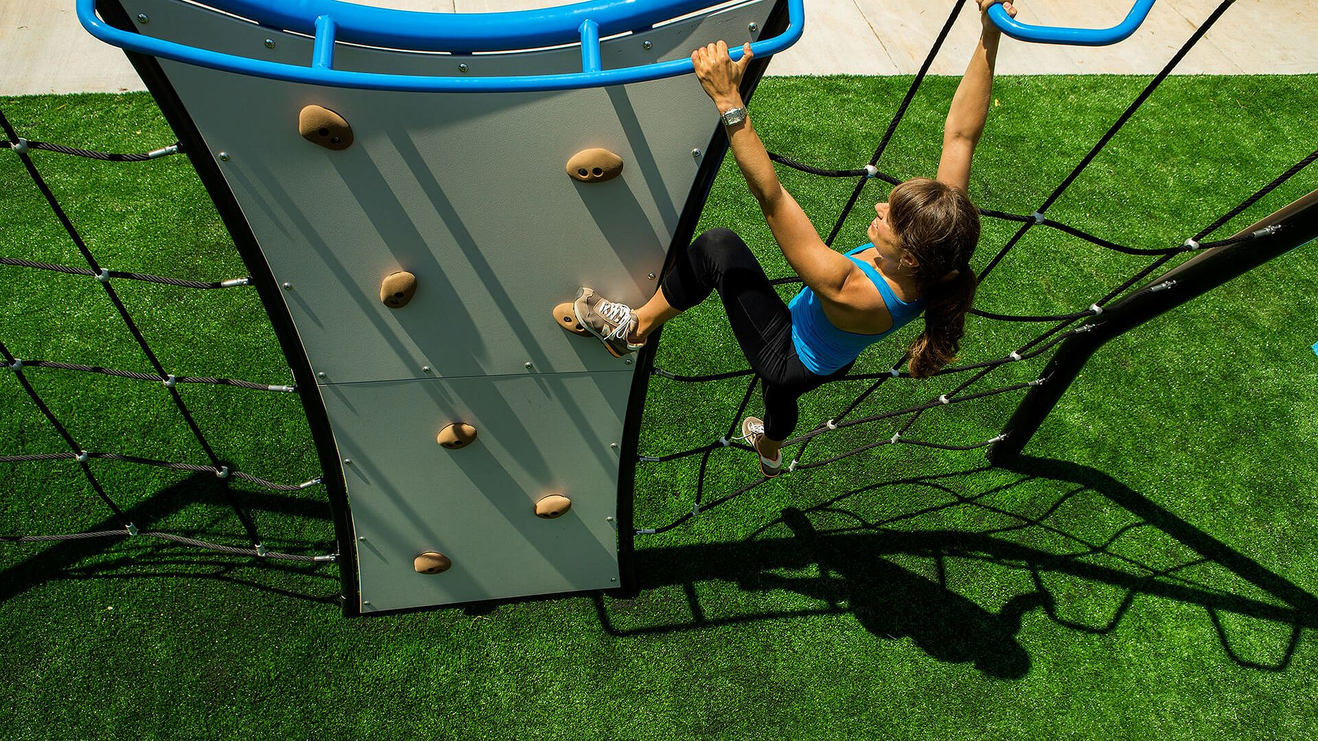 The Challenge Course outdoor fitness equipment lets you compete with friends and family.