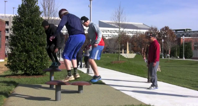Outdoor Fitness Park Box Jumps using iTrack Fitness Pommels