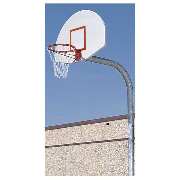 Offset Gooseneck Post White Backboard Double Rim