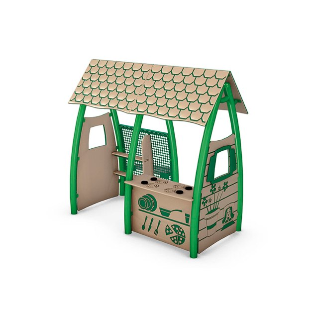 Dramatic Play House - Beige and Green Roof